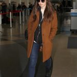 Lily Collins in a Brown Coat