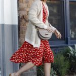 Mandy Moore in a Red Floral Dress
