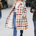 Mollie King in a Plaid Trench Coat