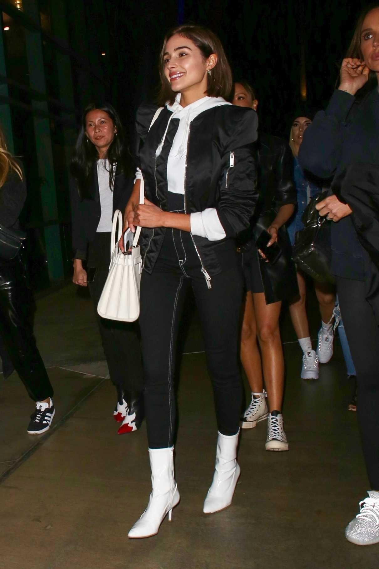 Olivia Culpo in a Black Bomber Jacket
