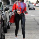 Olivia Culpo in a Black Leather Pants
