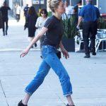 Amber Heard in a Black T-Shirt