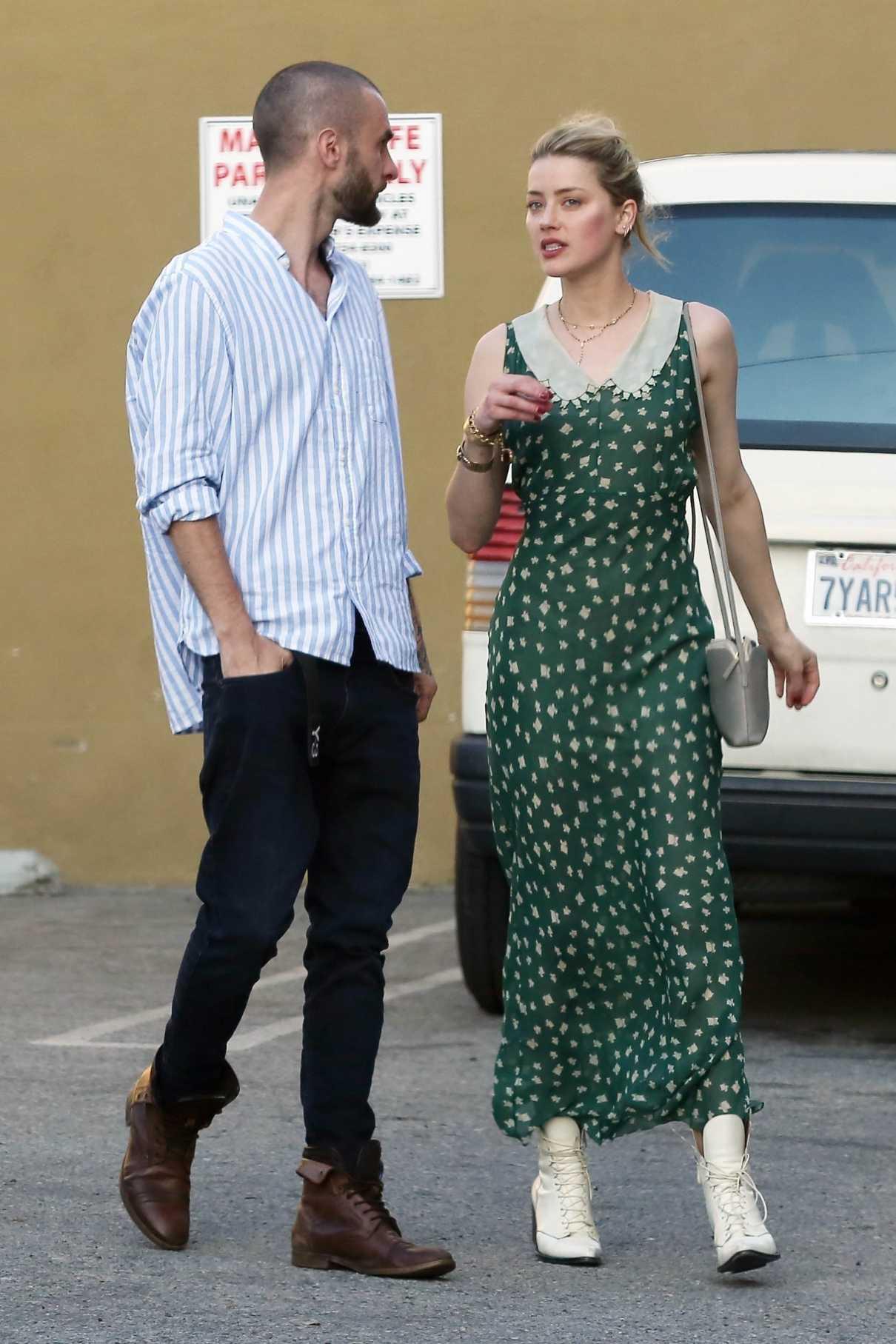 Amber Heard in a Long Green Dress
