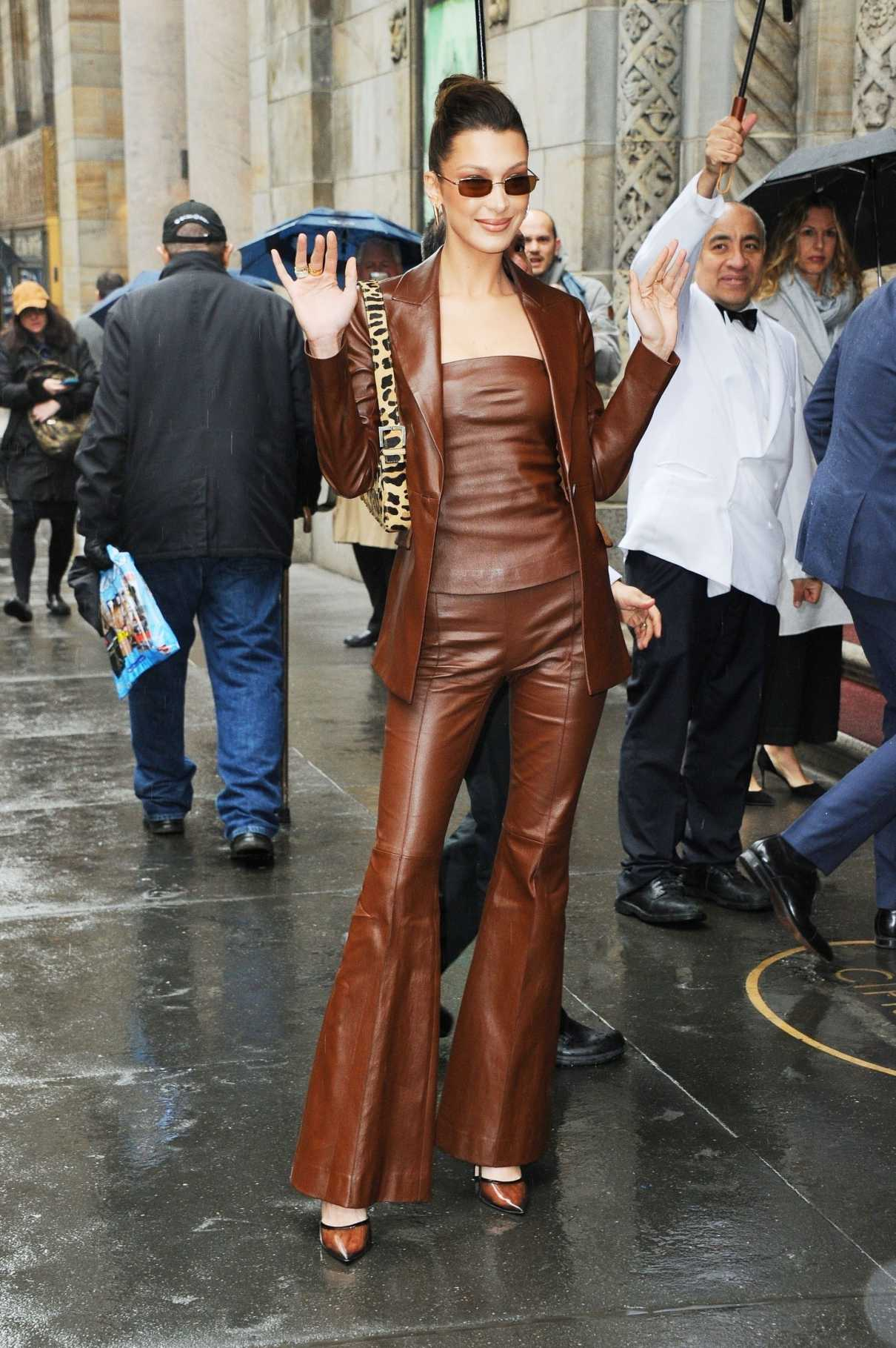 Bella Hadid in a Brown Leather Suit