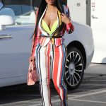 Blac Chyna in a Striped Suit Arrives at a Studio in Burbank 04/26/2019