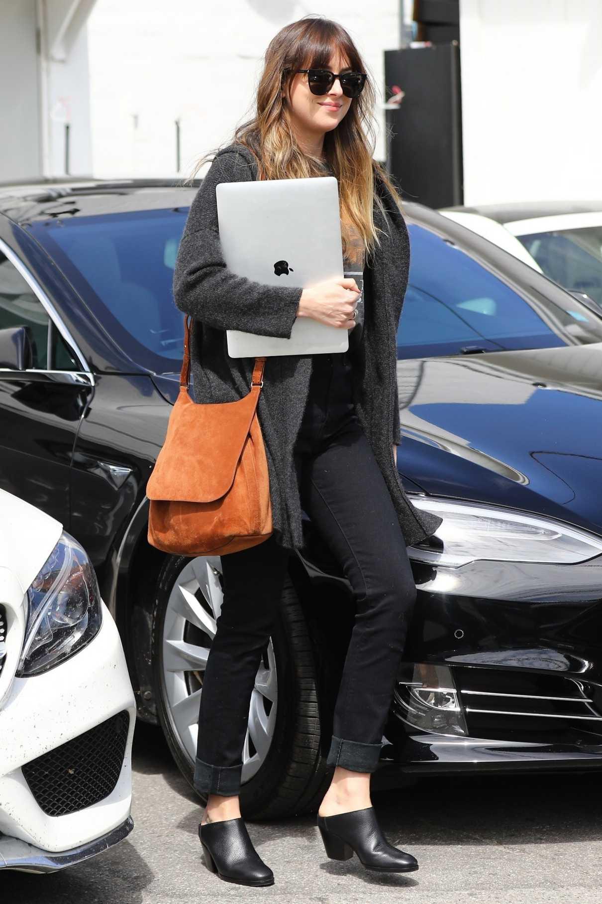 Dakota Johnson in a Gray Cardigan