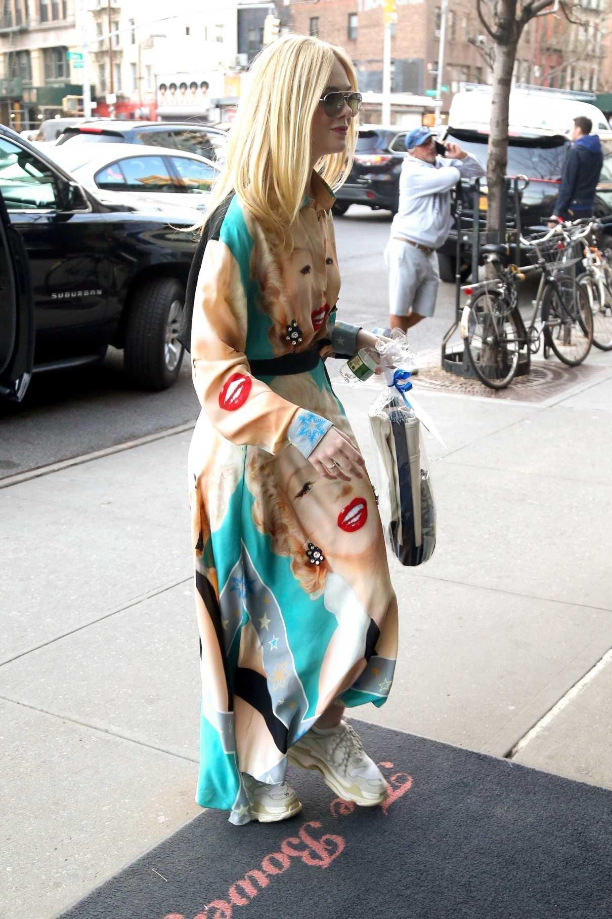 Elle Fanning in a Marilyn Monroe Print Dress