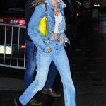 Gigi Hadid in a Blue Denim Suit