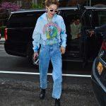 Gigi Hadid in a Blue Rolling Stones Hoody