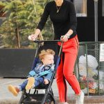 Jordana Brewster in a Red Track Pants