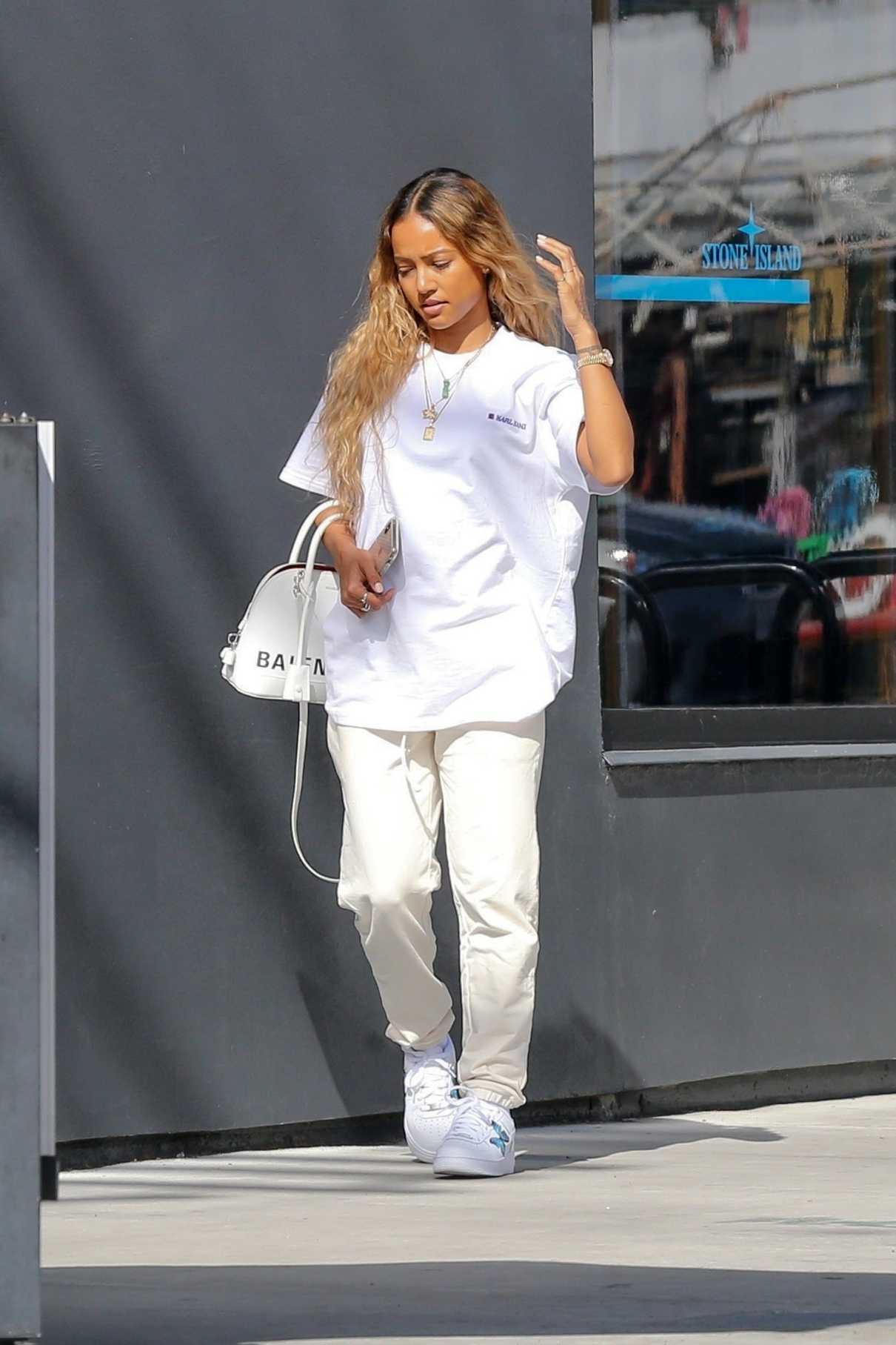 Karrueche Tran in a White T-Shirt