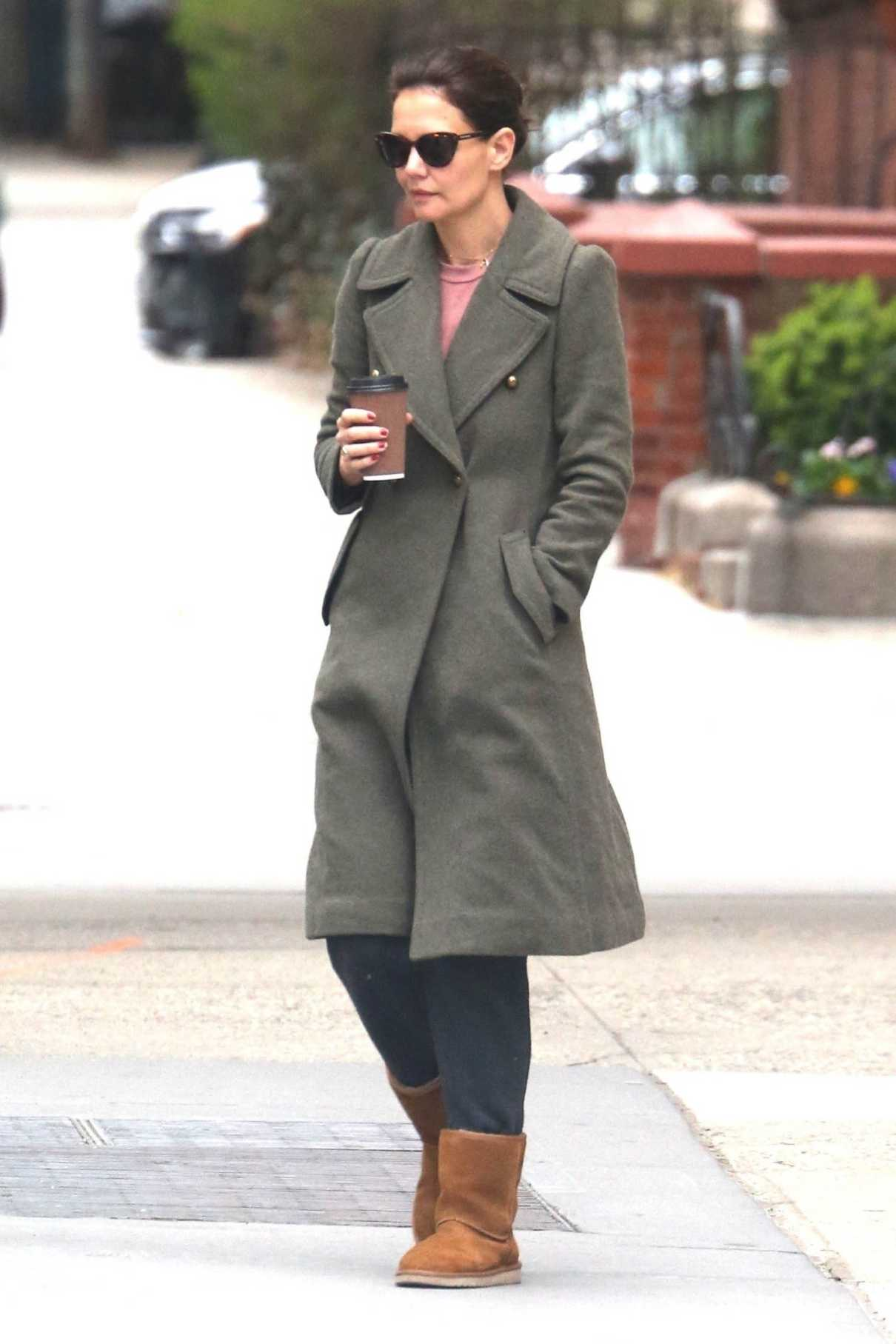 Katie Holmes in a Green Coat