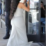 Kim Kardashian in a Beige Tank Top