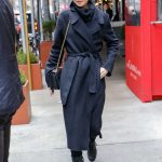 Lily Collins in a Black Coat