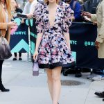 Lily Collins in a Short Floral Dress