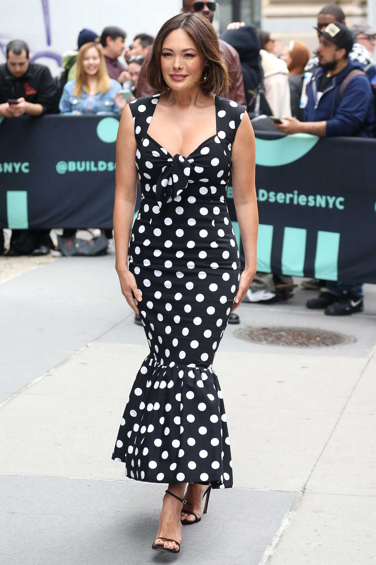 Lindsay Price in a Black Polka Dot Dress