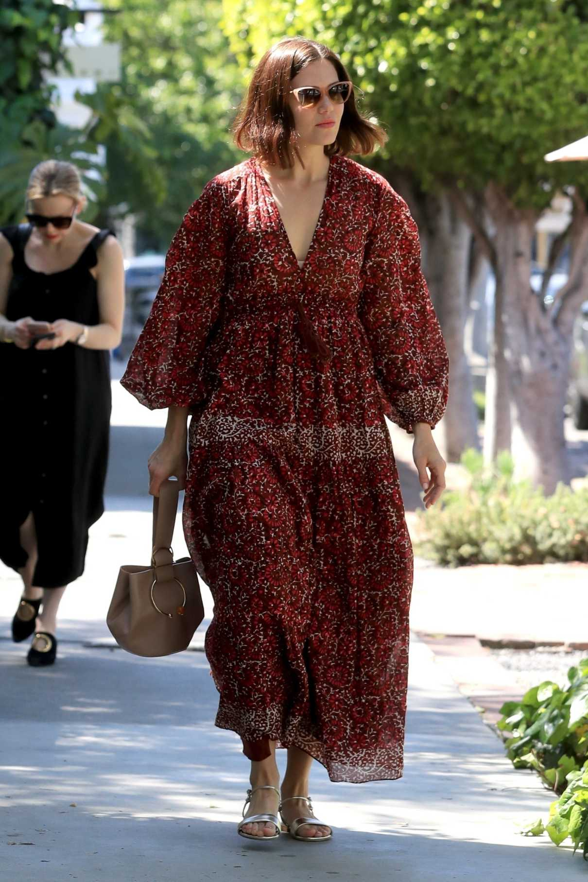 Mandy Moore in a Red Floral Dress Was Seen Out in West Hollywood 04/01/2019