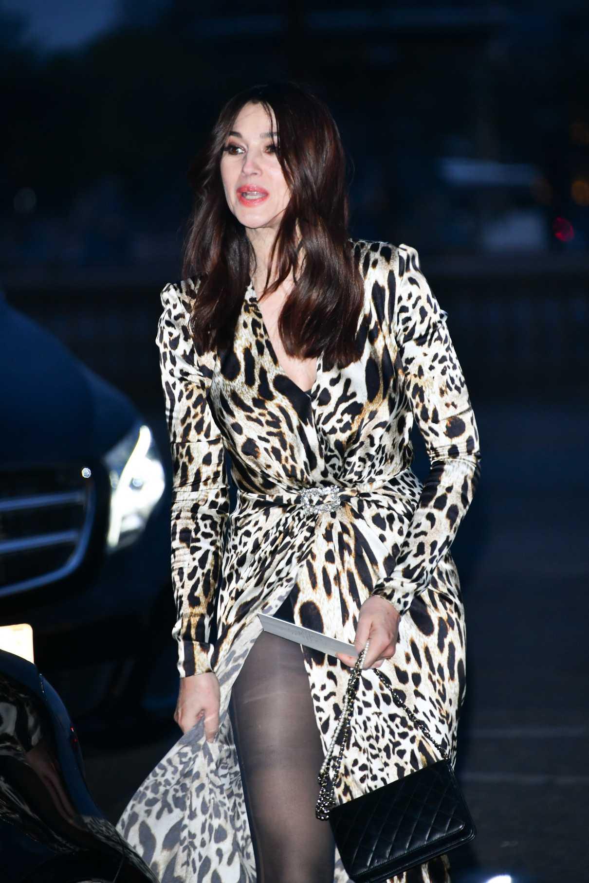 Monica Bellucci in a Leopard Print Dress