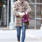 Olivia Palermo in a Beige Fur Coat