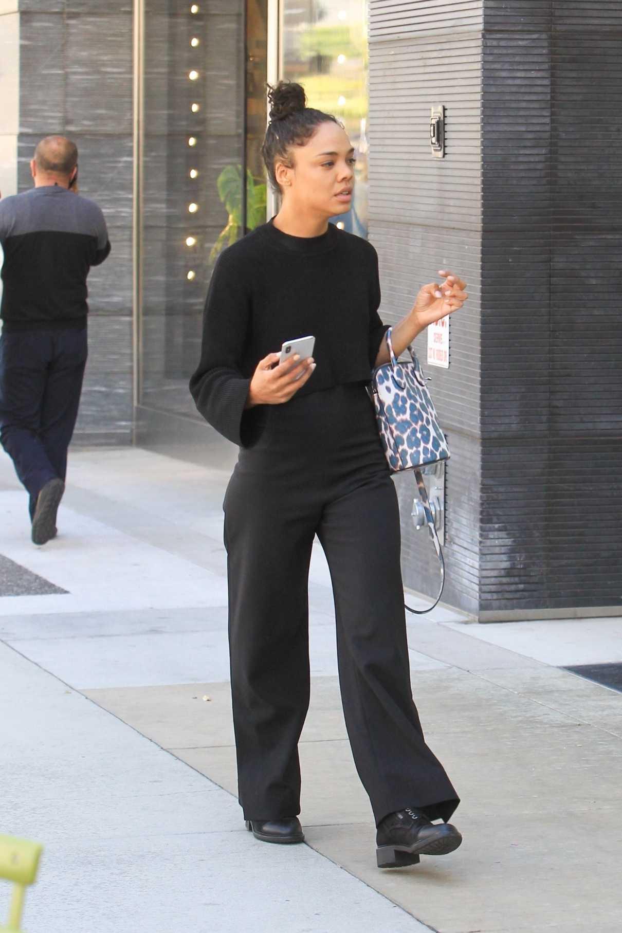 Tessa Thompson in a Black Pants