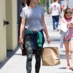 Alessandra Ambrosio in a Gray T-Shirt