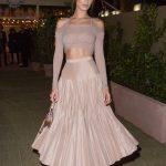 Bella Hadid in a Beige Skirt