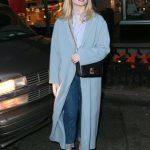 Elle Fanning in a Light Blue Coat