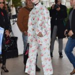 Elle Fanning in a White Floral Suit