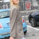Elsa Hosk in a Beige Blazer
