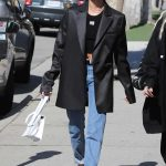 Hailey Baldwin in a Black Oversized Blazer
