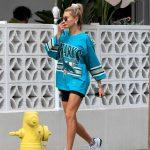 Hailey Baldwin in a Blue Oversized T-Shirt