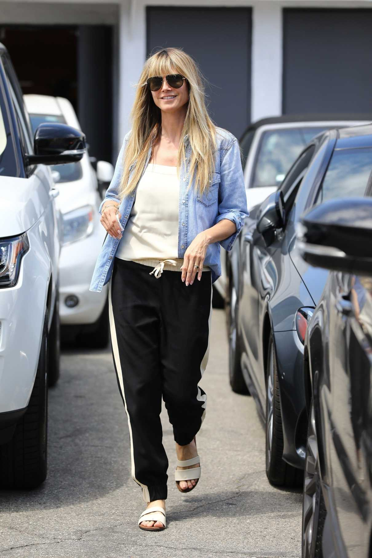 Heidi Klum in a Blue Denin Shirt