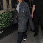 Rihanna in a Black Oversized Striped Jacket