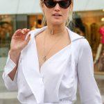 Toni Garrn in a White Blouse