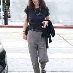 Courteney Cox in a Gray Pants Arrives at Craig's Restaurant in West Hollywood 06/25/2019