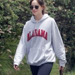 Dakota Johnson in a Gray Hoody
