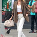Elsa Hosk in a Brown Blazer
