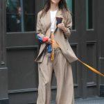 Emily Ratajkowski in a Beige Suit