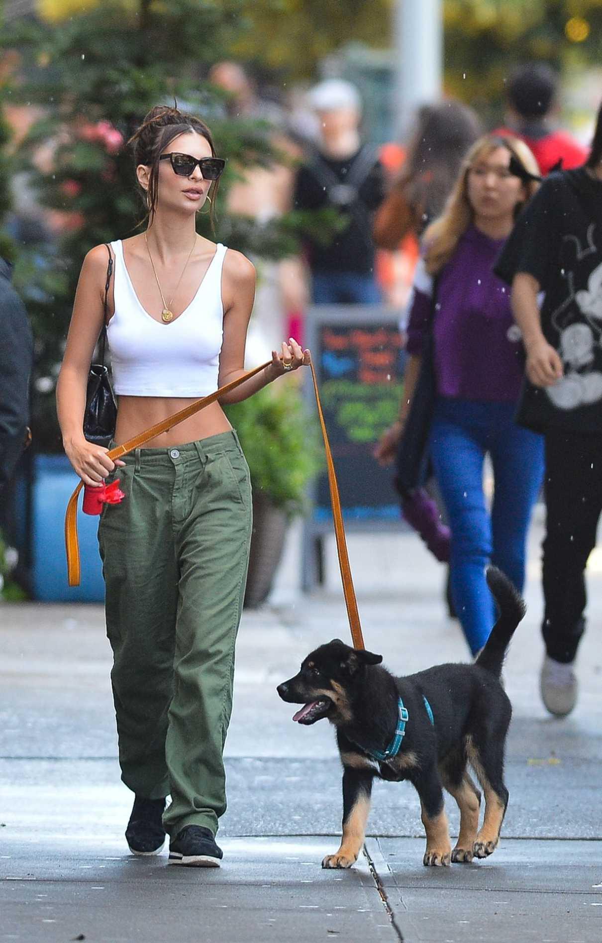 Emily Ratajkowski in a Green Pants
