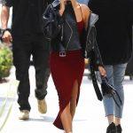 Hailey Baldwin in a Black Leather Jacket