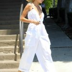 Hailey Baldwin in a White Jumpsuit