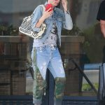 Heidi Klum in a Blue Denim Jacket