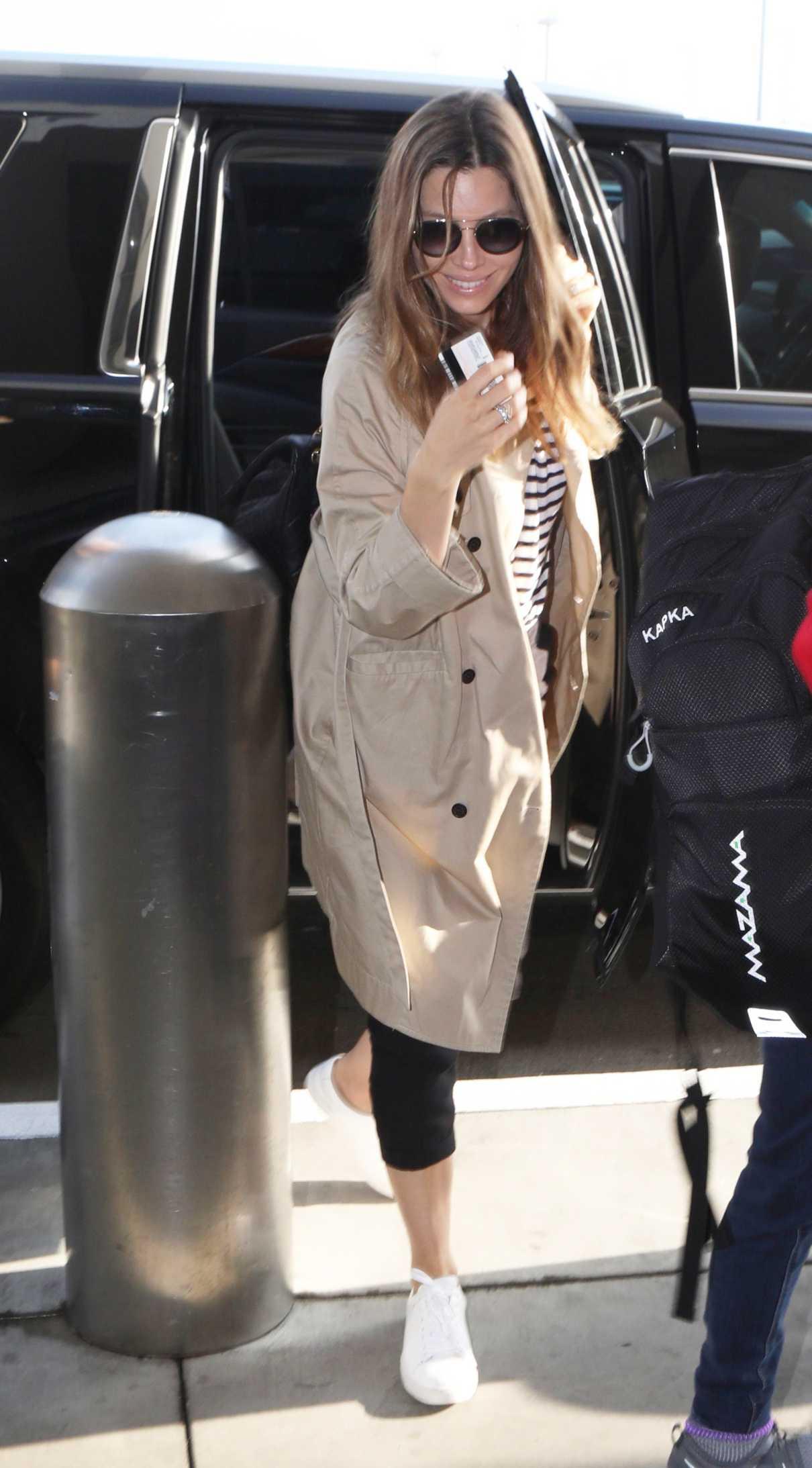 Jessica Biel in a Beige Trench Coat