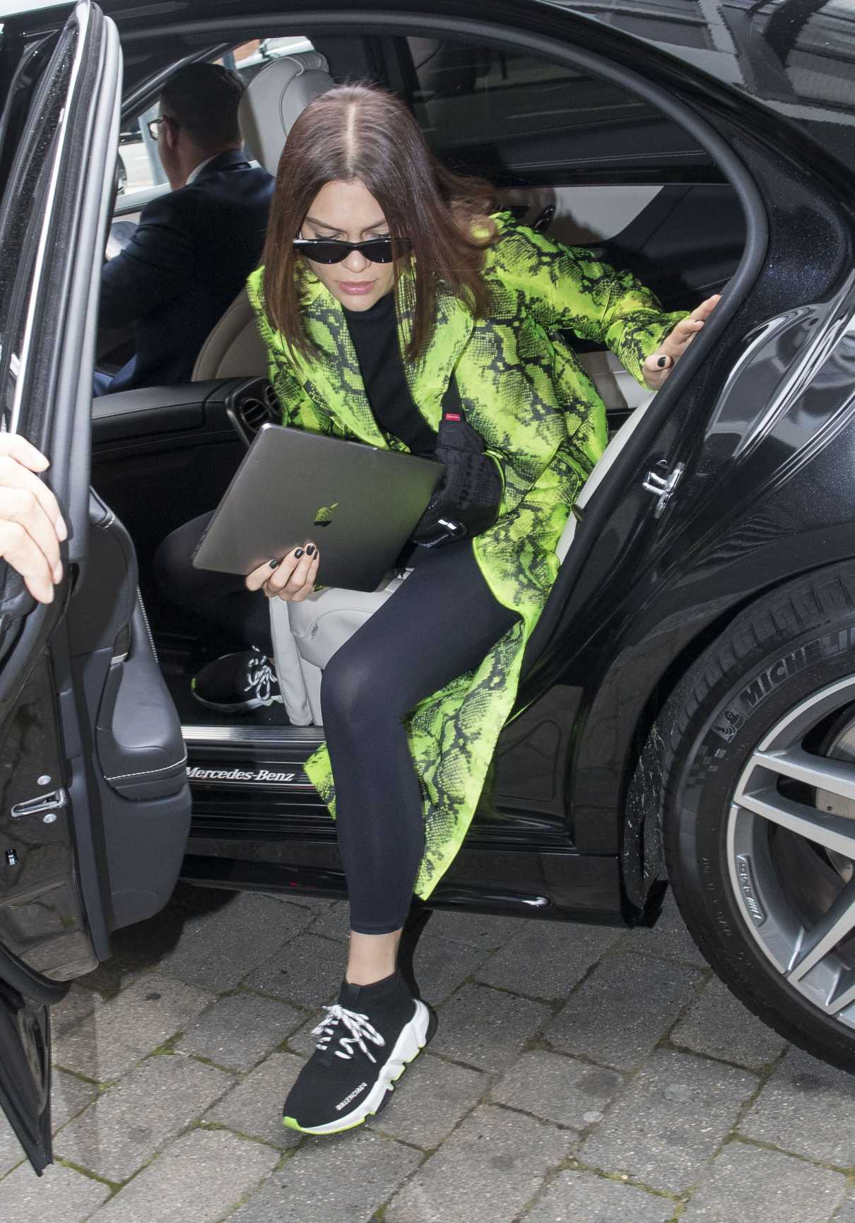 Jessie J in a Green Snakeskin Jacket