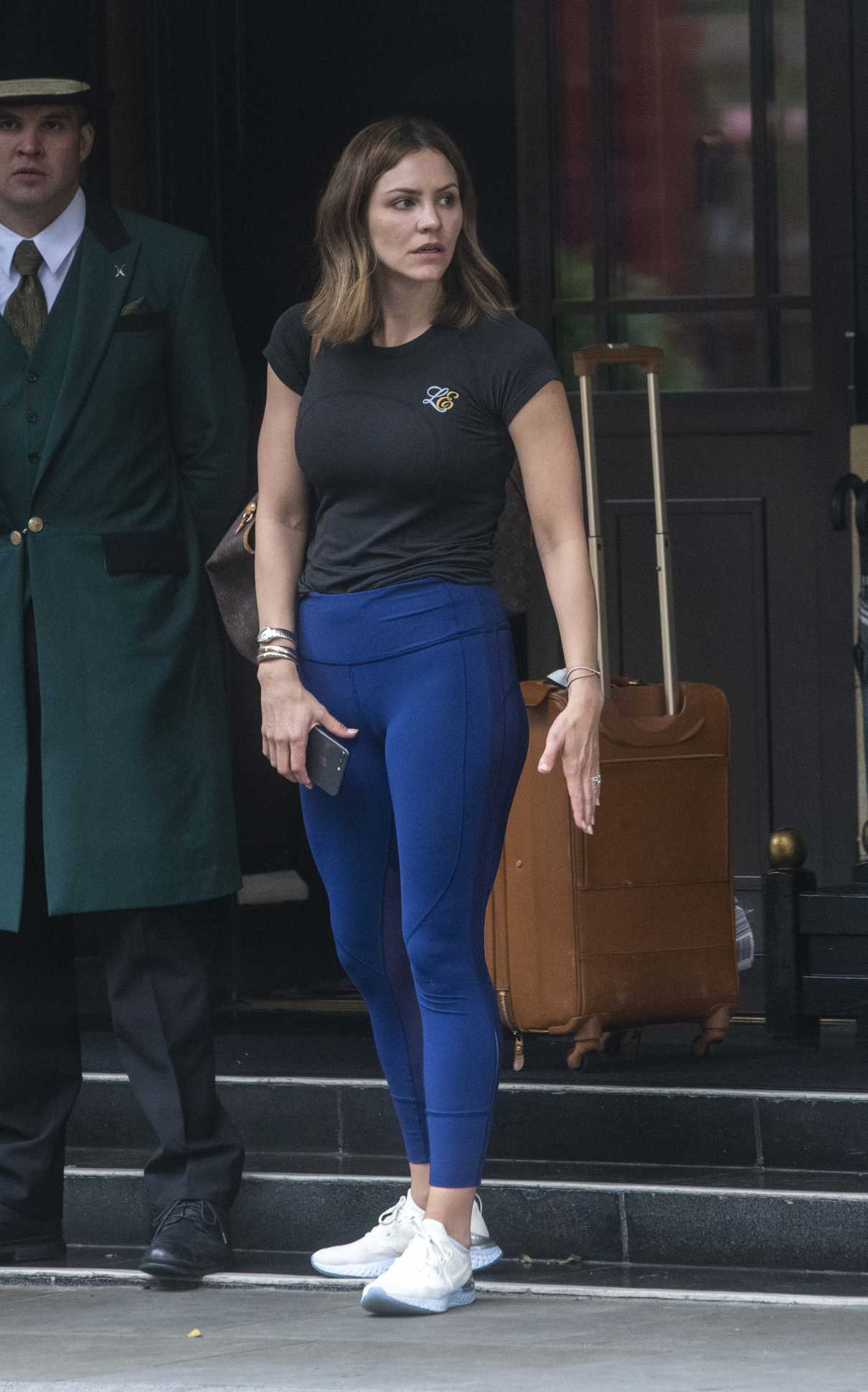 Katharine McPhee in a Blue Leggings