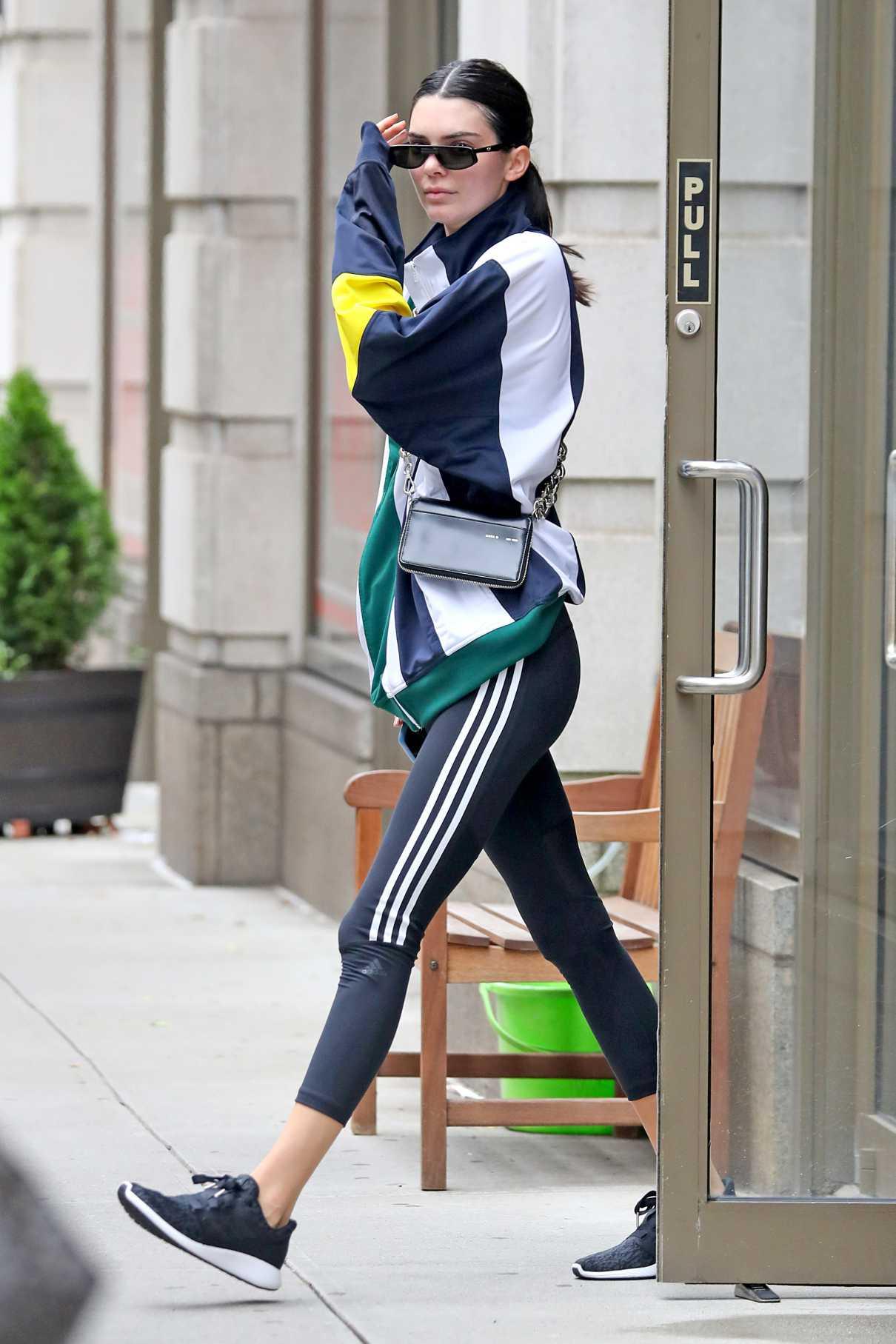 Kendall Jenner in a Black Adidas Leggings