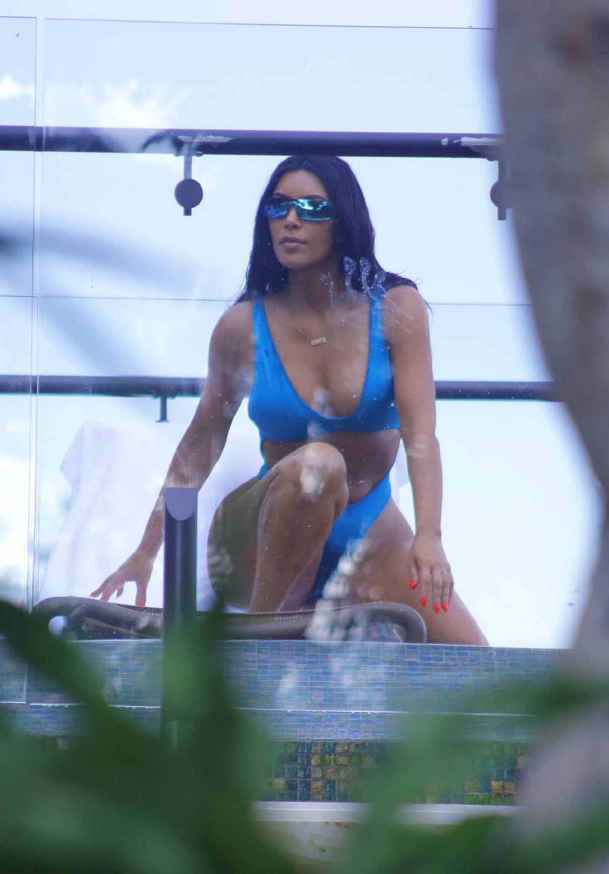 Kim Kardashian in a Blue Bikini