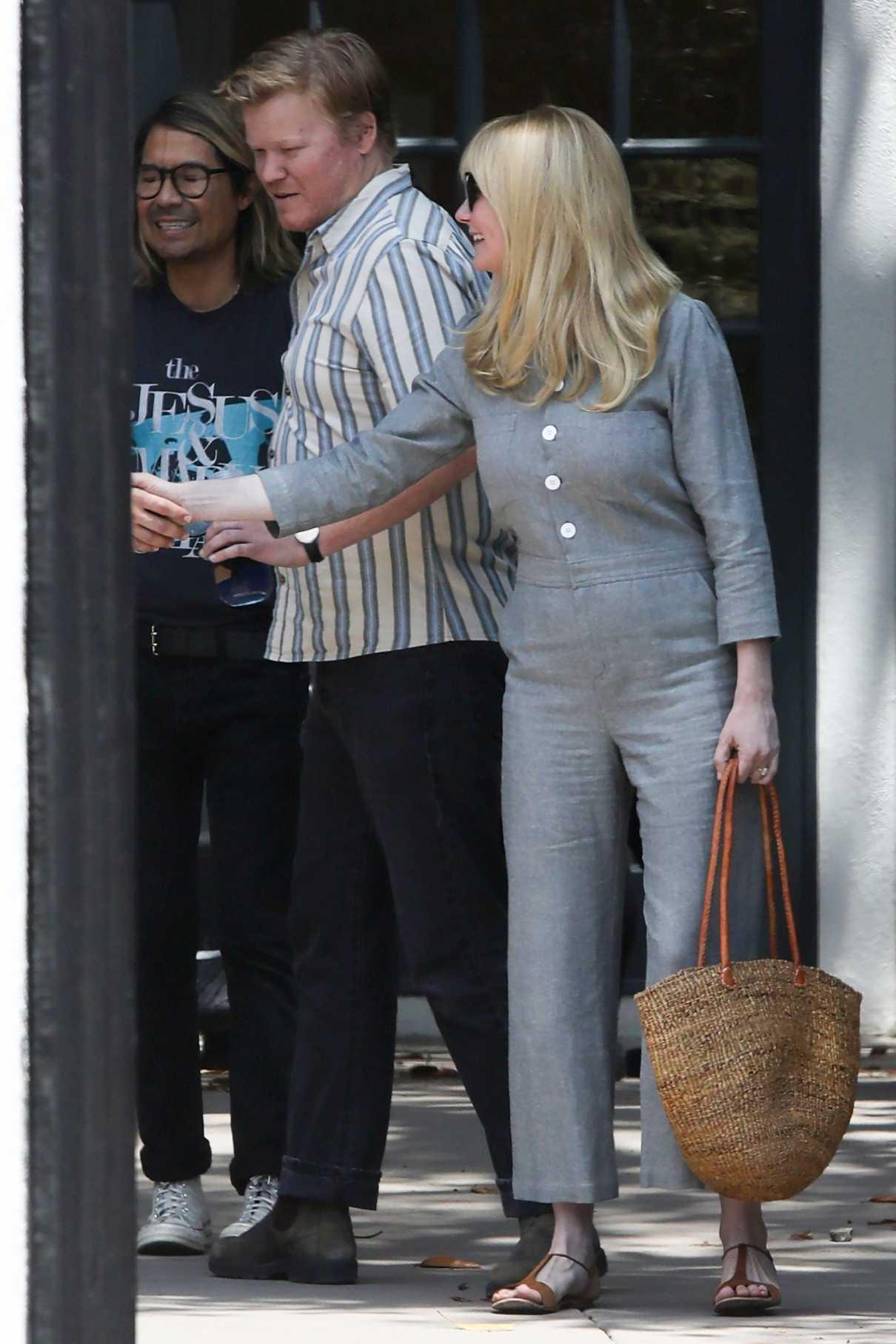 Kirsten Dunst in a Gray Suit
