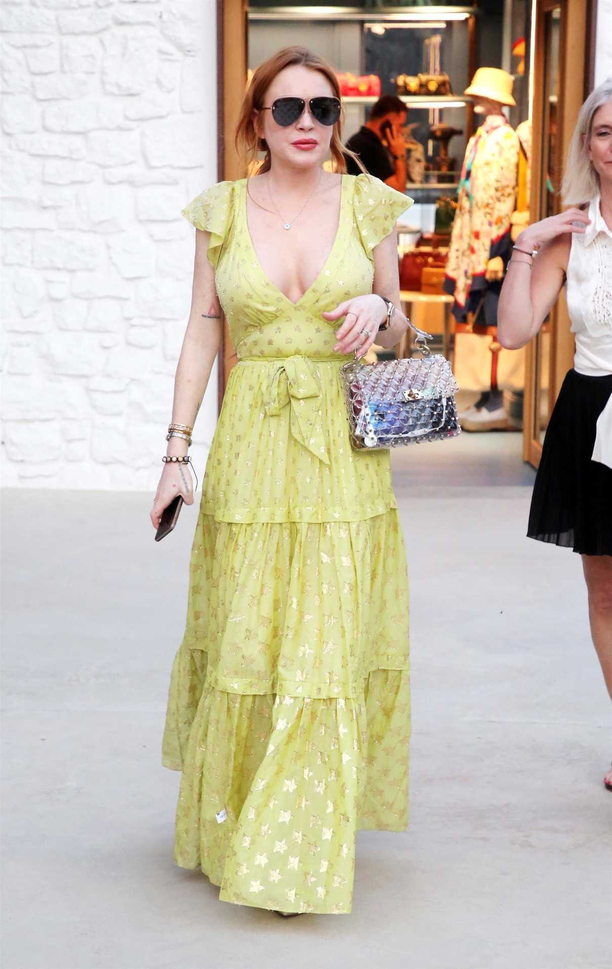 Lindsay Lohan in a Yellow Dress