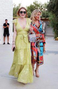 Lindsay Lohan in a Yellow Dress
